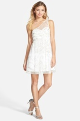 Hailey Logan One Shoulder Glitter Mesh Dress Juniors White