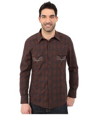 Rock And Roll Cowboy Long Sleeve Snap B2s5434 Brown Men's Long Sleeve Button Up