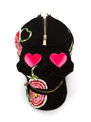 Manish Arora Embroidered Skull Clutch Black