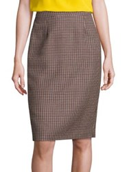 Escada Houndstooth Wool Skirt Caramel Black