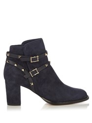 Valentino Rockstud Suede Ankle Boots Navy