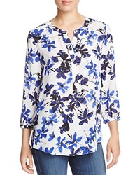 Nydj Pleated Back Blouse Fairlady Floral Vanilla