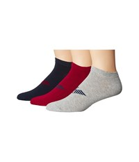 Emporio Armani Stretch Cotton Color Basic 3 Pack Short Socks Bordeaux Navy Blue Melange Grey Men's Crew Cut Socks Shoes Multi