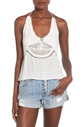 Junior Women's Sun And Shadow Crochet Inset Halter Top