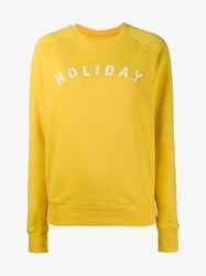Holiday Logo Cotton Sweatshirt Yellow White Blue