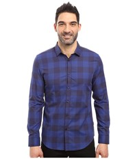 Calvin Klein Long Sleeve Buffalo Check Button Down Shirt Blue Rush Men's Long Sleeve Button Up Navy