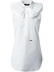 Dsquared2 Ruffle Collar Sleeveless Top White