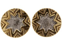 House Of Harlow Two Tone Engraved Sunburst Stud 14K Yellow Gold Plated Rhodium Plated Earring