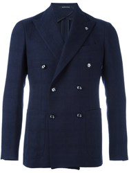 Tagliatore Peaked Lapels Double Breasted Coat Blue