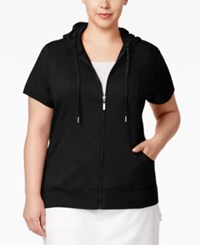 Styleandco. Style And Co. Plus Size Short Sleeve Hoodie Only At Macy's Deep Black