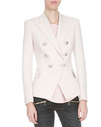 Balmain Classic Double Breasted Wool Blazer Pink