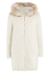 Woolrich Knit Cardigan With Fur Collar Beige