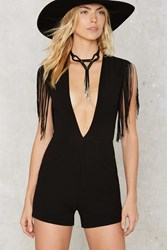 Nasty Gal Fringe In High Places Plunging Romper