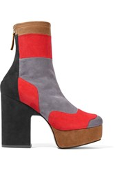 Pierre Hardy Ziggy Patchwork Stretch Suede Platform Ankle Boots Gray
