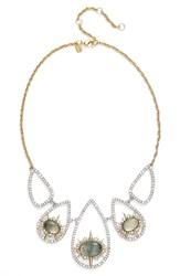 Alexis Bittar Crystal Spike Bib Necklace Silver White