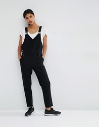 Asos 90'S Dungaree With Wrap Front Detail Black