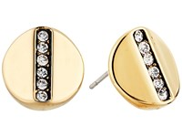 Cole Haan Round Pave Bar Stud Earrings Gold Crystal Earring