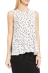 Vince Camuto Women's Sleeveless Ruffle Front Top New Ivory Animal Pop