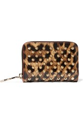 Christian Louboutin Panettone Spiked Leopard Print Patent Leather Wallet Leopard Print