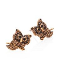 Marc Jacobs Owl Crystal Stud Earrings Gold