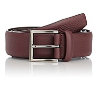 Barneys New York Men's Grained Leather Belt Red