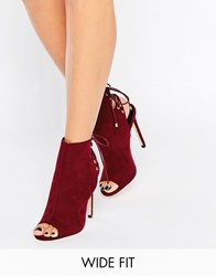 Asos Elevate Wide Fit Lace Up Heeled Boots Oxblood Red