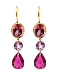 Marie Helene De Taillac 22K Yellow Gold And Pink Tourmaline Earrings Yellow Pink