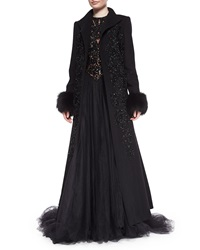 Elie Saab Fox Fur Trimmed Beaded Coat