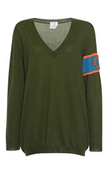 Stella Jean Ufficiale Long Sleeve V Neck Knitted Sweater Olive