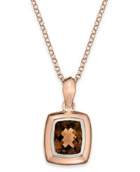 Macy's 14K Rose Gold Necklace Smokey Quartz Cushion Pendant 4 3 4 Ct. T.W. Brown