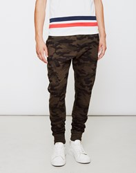 The Idle Man Camo Joggers Green