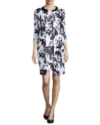 Albert Nipon Abstract Floral Print Jacket And Dress Black White White Black