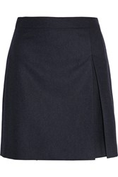 A.P.C. Atelier De Production Et De Creation Pleated Wool Flannel Mini Skirt Midnight Blue