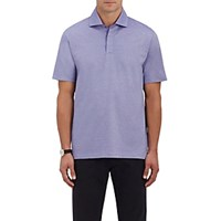 Ermenegildo Zegna Men's Fine Striped Polo Shirt Purple