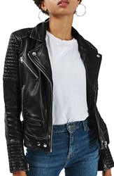 Topshop Women's Elton Quilted Leather Jacket