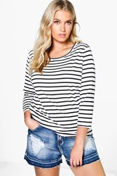 Boohoo Laura 3 4 Sleeve Stripe Tee Black