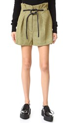 3.1 Phillip Lim Origami Pleated Houndstooth Shorts Yellow Multi