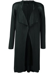 Issey Miyake Pleats Please By Pleated Single Button Cardigan Green