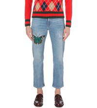 Gucci Butterfly Regular Fit Straight Jeans Blue
