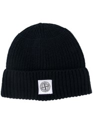 Stone Island Ribbed Knit Beanie Blue