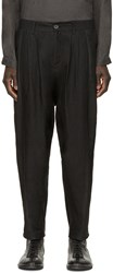 Isabel Benenato Black Linen And Leather Trousers