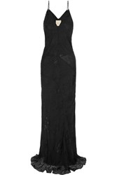 Mason By Michelle Mason Fil Coupe Silk Chiffon Gown Black