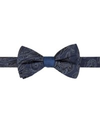 Ryan Seacrest Distinction Men's Reversible Paisley Stripe Pre Tied Bow Tie Only At Macy's Navy