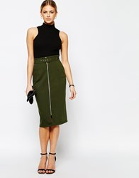 Love Structured Pencil Skirt Green
