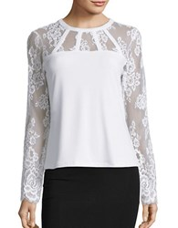 Karl Lagerfeld Lace Trimmed Long Sleeve Top Creme