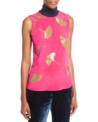 3.1 Phillip Lim Sleeveless Gingko Embellished Turtleneck Top Bright Cerise