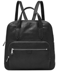 Fossil Riley Leather Backpack Black