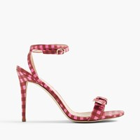 J.Crew Gingham Leather Sandals With Bow Pink Brown