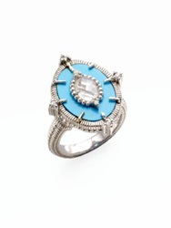 Judith Ripka Oasis Turquoise White Sapphire Crystal And Sterling Silver Oval Cocktail Ring Blue