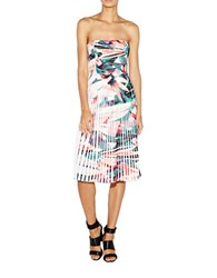 Nicole Miller Floral Print Strapless Pleated Dress White Multi